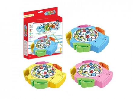 Игрушка-рыбалка на батарейках, пластик, эл.питания 2xAAA, 22х21х4см, 3 цвета