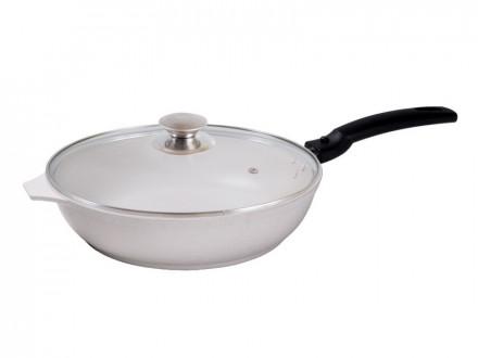 Сковорода 240 мм с антипригарным покрытием, со съемной ручкой, со стеклянной крышкой. kukmara