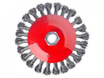 Щетка металл для ушм 125мм м14 крученая тарелка ермак