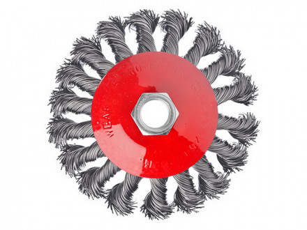 Щетка металл для ушм 100мм м14 крученая тарелка ермак