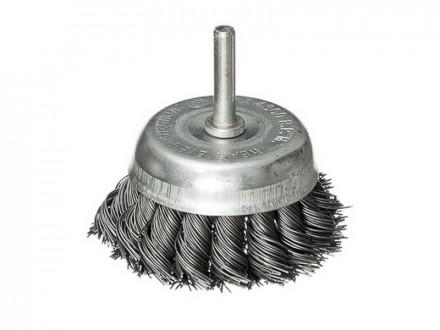 Щетка металл со шпилькой для дрели 65мм крученая чашка falco