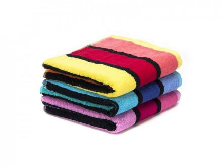 Полотенце махровое 34х75см  полоска  3 цвета