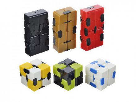 Игрушка-антистресс  кубик-бесконечность лайт  пластик 8х4х2см 6 цветов