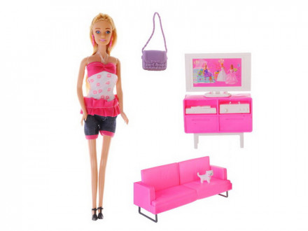 Кукла с мебелью для гостиной пластик полиэстер 31х36х8см игроленд