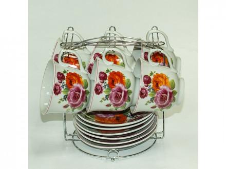 Набор чайный 12 предметов 220мл керамика, с металлической подставкой
