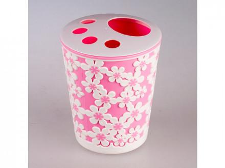 Подставка для зубных щеток дольче вита розово белый