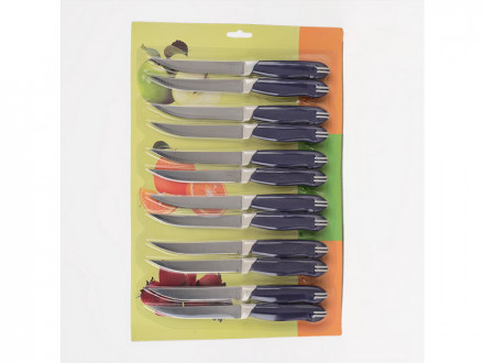 """Нож кухонный, металлический прямой эк 5"""" пл руч на листе 12 шт"""