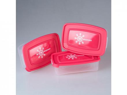 Комплект контейнеров для замораживания прямоугол 3шт 0.7л морозко