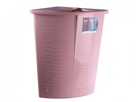 Корзина пластик для белья угловая 40л йогуртовый