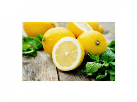 Доска разделочная стекло 18х28см лимон