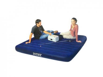 Кровать флок Classic Downy, 183x203x22см, синий