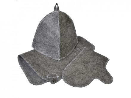 Набор банный 3 предмета шапка б/выш.,варежка б/ выш.,коврик б/выш. белый/серый, Шерсть-30 ,ПЭ-70