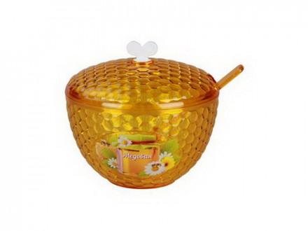 Салатник 0,65л с/к мозаика люкс медовая желтая с ложкой