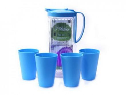 Набор 5пр (кувшин 2400мл+4 стакана 410мл) пластик голубой