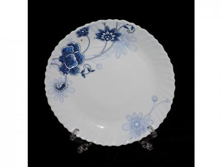 "Тарелка стеклокерамика обеденная 7,5"" d20 синий цветок"