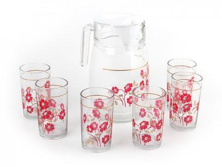"""Набор для воды """"Красные цветы/золото """" кувшин, стаканы 6шт PV-05009-3"""