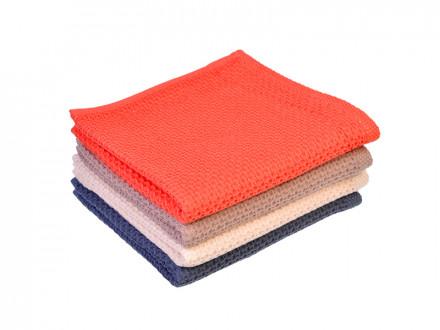 Полотенце махровое, 100 хлопок, 33х71см, однотонная клетка, 4 цвета