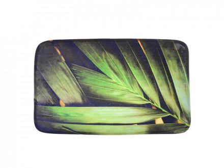 SonWelle Коврик для ванной ЛИСТЬЯ флис, принт, губка, 0,4см, 50x80см